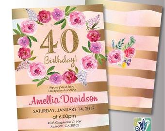 Peach and Gold Birthday Invitation. 30th Birthday Party invitation. Pink peony invitation. Printable Digital DIY Card