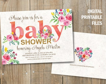 Spring Baby Shower Invitation, Baby Girl Shower, Double sided Baby Shower Announcement, Hand painted flowers