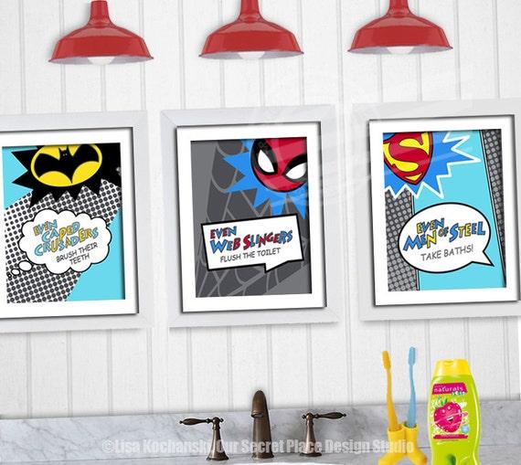 Superman Bathroom Decor: PRINTABLE Superhero Bathroom Wall Art Decor Superhero Art