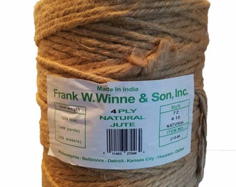 Huge 10lb Roll 4 Ply 72 #10 5-6mm Natural Jute Twine Macrame Craft Cord 1229FT