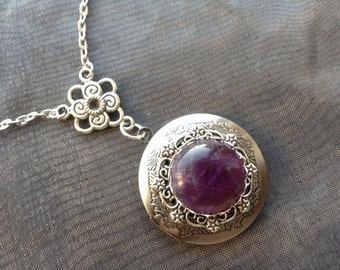 Amethyst Silver Locket Necklace, Mommy, Mother, Wife, Girlfriend Gift, Personalized Gift