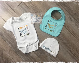 Baby gifts, Baby shower gifts, Personalized Baby Gift Set, Brave Baby, Onesie, Baby Bib, Burp Cloth, Baby Layette, New baby gift