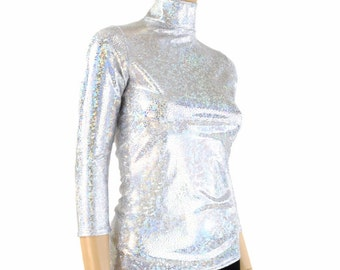 Silver on White Shattered Glass 3/4 Sleeve Turtle Neck Full Length Top Rave Festival Clubwear - 154221