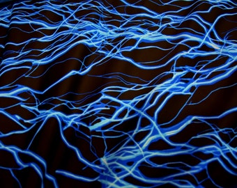 UV Neon Blue Lightning Print Spandex Fabric Electric Zap Thunder Fire Bolt Powerhouse High Voltage Baby Zeus Flash Shock Rave (By the Yard)