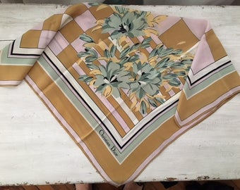 Vtg Christian Dior Silk check flowers scarf/ square/ pink green mustard