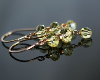 Swarovski jonquil crystal dangle earrings, Swarovski crystal jewelry, 14k rose gold fill ear wires, Swarovski gift for her, yellow earrings