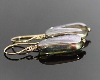 Czech glass drop earrings, Czech glass jewelry gift, Czech green glass earrings, earthy earrings, 14k gold fill French hook ear wires