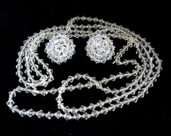 Crystal Flapper Necklace, Vintage Demi Parure, Crystal Earrings Set, Faceted Long Necklace, Clip on Earrings, Free Shipping