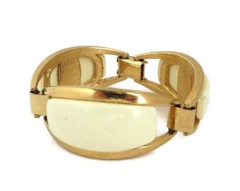 Vintage Cream Gold Tone Bracelet, Lucite Linked Metal Bangle