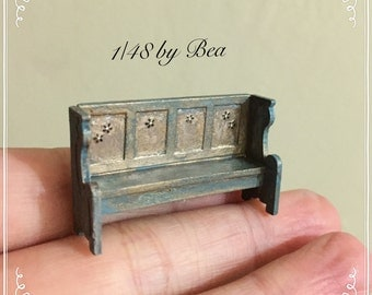 1/48 antiche bench dollshouse miniatures 1/4 vintage wood hand made by Bea