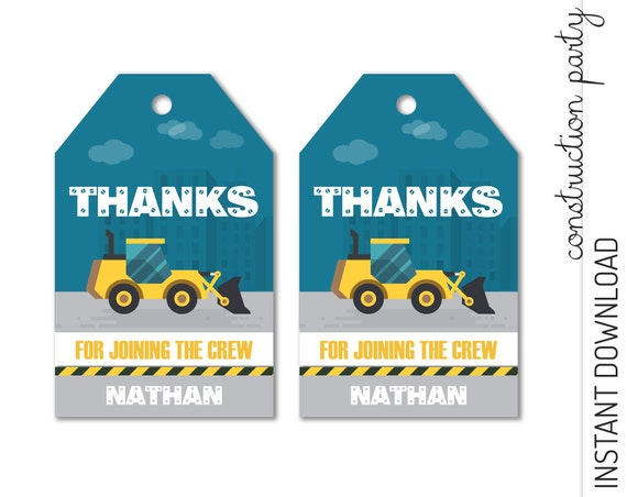 Construction Favor Tag INSTANT DOWNLOAD