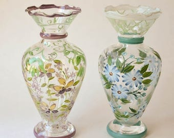 Hand Painted Vases, Glass Vases, Painted Flowers