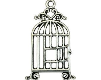 8 Fancy Silver Bird Cage Charm 34x21mm by TIJC SP1374