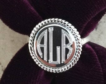 Personalized Engraved Round Sterling Silver Monogram Ring 08117c