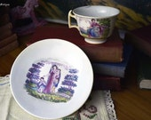 Antique 19th Century Transfer Print Hand Tint Staffordshire Allegory Faith Hope Porcelain Teacup with Charity Porcelain Saucer