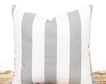 SALE ENDS SOON Gray Pillows, Gray Stripes Throw Pillow Cover, Gray and White Stripes, Sofa Cushions, Bed Pillows, Bedding, Soft Cotton Pillo