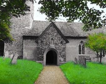 English Country Church, English Art, Landscape Art, Fine Art Print, Art on Canvas, Canvas Art, Fine Art on Canvas, Decor