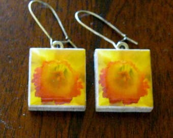 Daffodil Flower Scrabble Game Tile Earrings Original Photograph