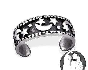 925 Sterling Silver Moon and Star Celestial Toe or Pinky Ring TR9197