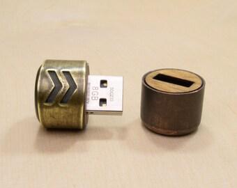 Steampunk USB Drive - Brass Arrow Barrel - 8GB / 16GB / 32GB / 64GB