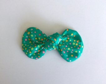 Teal Multi Dot Knot Bow
