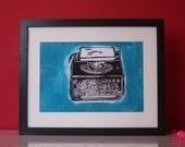 Typewriter (Black & Turquoise) A4 Linocut Print