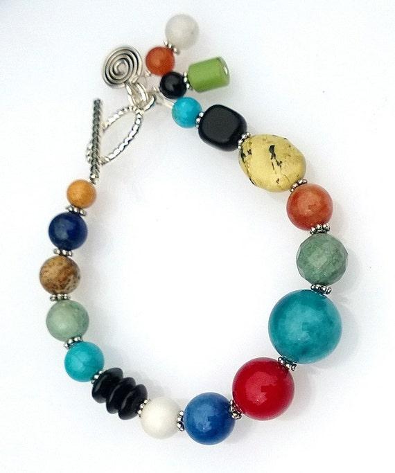 Mixed Stone Bracelet, Multi-Color Bracelet, Boho Bracelet
