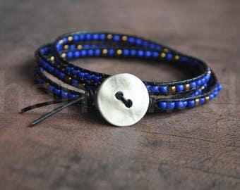 Wrap beaded bracelet | wrapped bracelet | stone bracelet | blue leather bracelet | wrap wristband | lederarmband | pulsera cuero