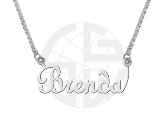 Sterling Silver Personalized Handmade Name Necklace with ANY NAME of your choice in English with High Polish Shiny Finish Gift item - FS