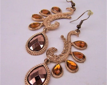 Vintage Gold Tone, Amber Crystal Embellished Dangle Earrings