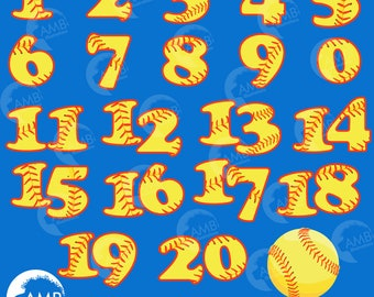 Softball Numbers Clipart, Team Numbers, Sports Clipart, Commercial Use, AMB-820