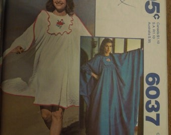 """McCalls 6037, UNCUT sewing pattern, embroidery transfer incld.  sizes bust 31 1/2"""" -40"""", craft supplies, misses, womens, Caftan"""