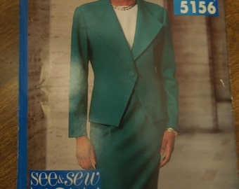 See and Sew 5156, Butterick, UNCUT sewing pattern, craft supplies, unlined jacket, top, skirt, misses, womens