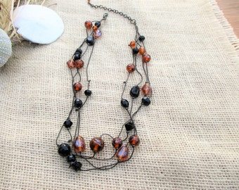 Vintage Shades of Brown and Black Glass Bead Necklace