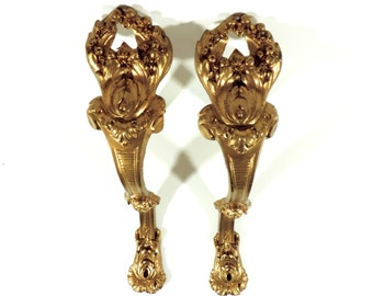 French Antique Curtain Tie Backs/French Vintage Gilt Bronze Curtain Tie Back Pair/Vintage Curtain Tie Backs/Curtain Hold Backs