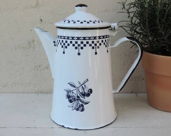 French Vintage White And Blue Enamel Coffee Pot With Cherries With Attached Lid