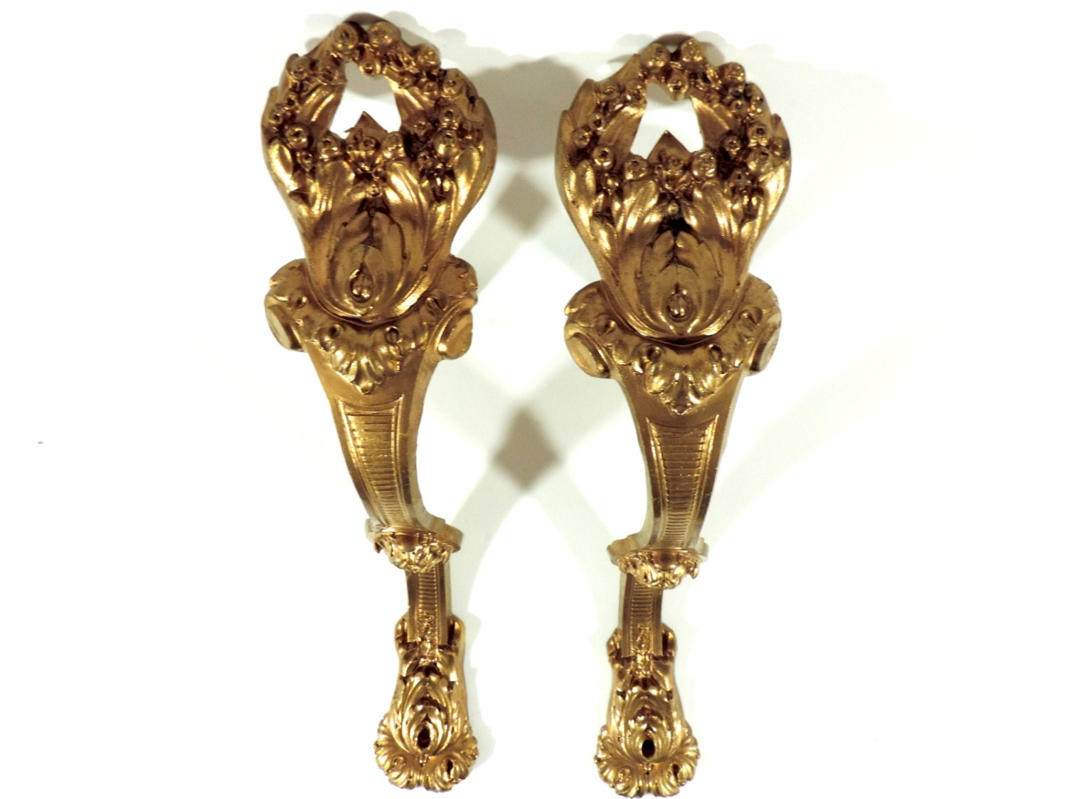 French Antique Curtain Tie Backs French Vintage Gilt Bronze
