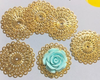 10 pcs 42 mm filigree pendants,Golden color,filigree wraps connector,golden finding,connector,gold plated link,charm,gold plated connector