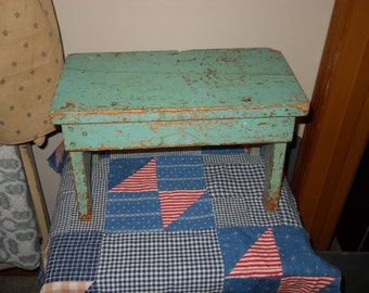 Primitive Green Bench or Foot Stool