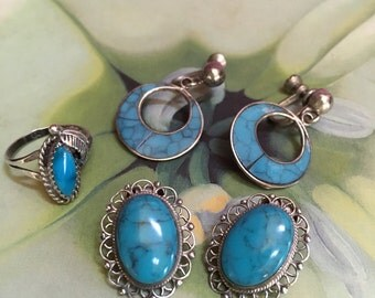 Vintage Native American Silver and Turquoise Earrings (2 Sets) and Ring