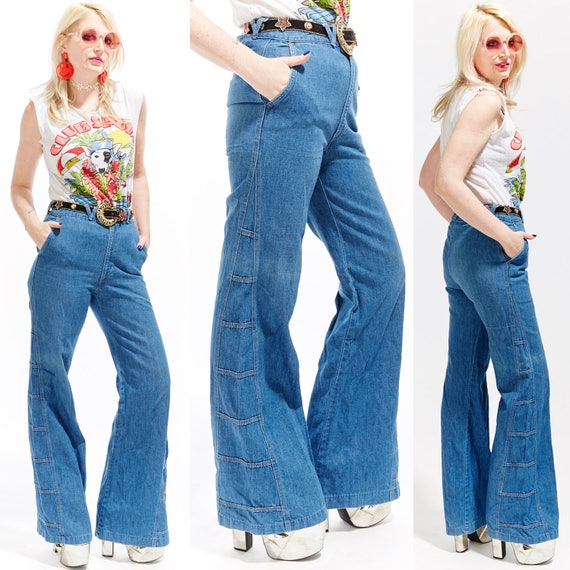Vtg 70s EXTRA LONG Bellbottoms JEANS High Waisted Denim Disco Hippie Boho Mod Minimal Retro Rock Grunge Worn In Maxi Embroidered Patchwork