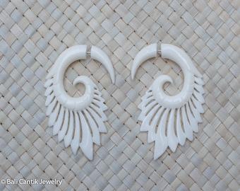 Harp Wing Fake Gauge Earrings, Bone Tribal Earrings, Bone Earrings Jewelry Bone Fake Piercing