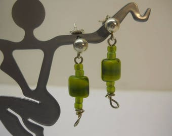 925 Stone Dangle Earrings w/Ball Posts #SS461 New Vintage