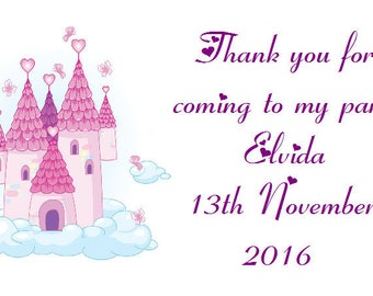 42 Personalised Baby shower / Party Bags Princess Castle design 216
