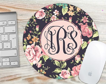 Pretty Floral Roses Monogram Mouse Pad - Roses Flowers Monogrammed - Personalized Mouse Pad - Round or Rectangle 7024