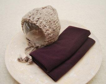 Newborn Bonnet, Knitted Bonnet, Baby Hat, Wool Bonnet, Newborn Wrap, Stretch Wrap, Jersey Wrap, Newborn Prop, Newborn Photo Prop