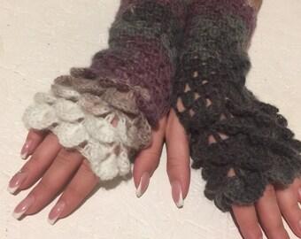 women fingerless  dragon scale gloves Fingerless crocodile stich women   gift crochet women's gloves women's Arm Warmers  gift Accessory