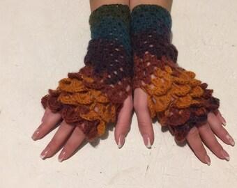 new crochet gloves Fingerless crocodile stich women fingerless gloves dragon scale  women's gloves women's Arm Warmers  gift Accessory