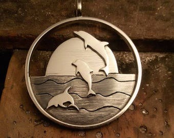 Dolphin pendant. Symbol of the family. Mother's Day gift