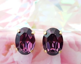 Amethyst Earrings ~ Purple Crystal Earrings ~ Oval Gold Earrings ~ Swarovski Crystal Earring ~ Gold Stud Earring ~ February Birthstone E3457
